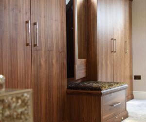Bespoke walnut bedroom room wardrobes