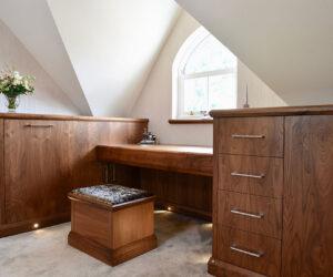 Bespoke walnut bedroom furniture