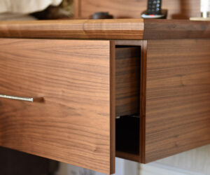 Made to measure walnut bedroom room furniture
