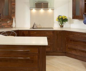 Contemporary walnut shaker style kitchen