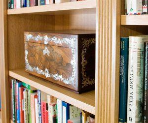 Adjustable bespoke oak bookshelves