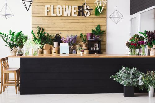 Flower shop interior, small business of floral design studio